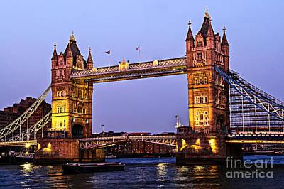 Tower Bridge In London At Dusk Poster by Elena Elisseeva