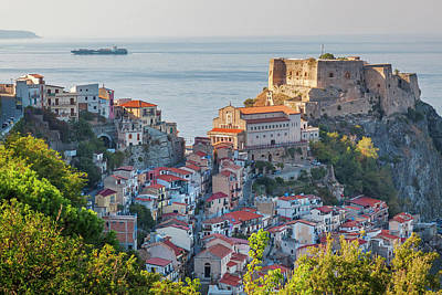 Town View With Castello Ruffo, Scilla Poster
