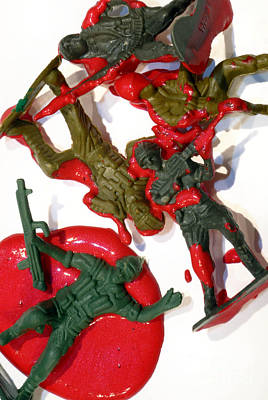 Toy Soldiers In A Pool Of Blood Poster by Amy Cicconi