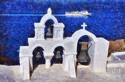 Traditional Belfry In Oia Town Poster