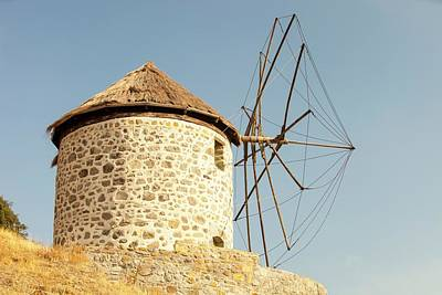 Traditional Greek Cloth Sailed Windmills Poster by Ashley Cooper