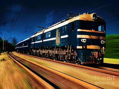 Train Painting Poster by Marvin Blaine