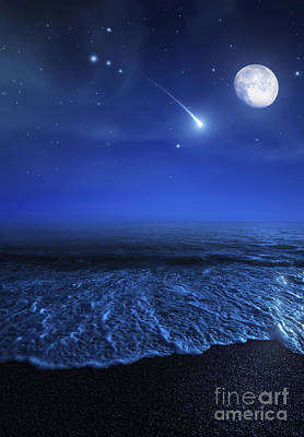 Tranquil Ocean At Night Against Starry Poster