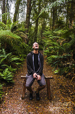 Travel Man Laughing In Tasmania Rainforest Poster