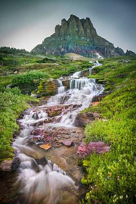Triple Falls Stream Glacier National Park Poster by Rich Franco