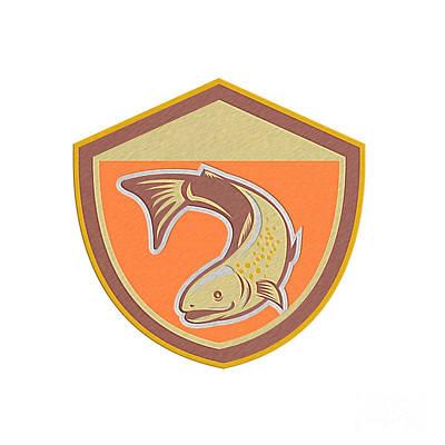 Trout Swimming Down Shield Retro Poster