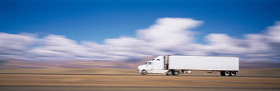 Truck On The Road, Interstate 70, Green Poster by Panoramic Images