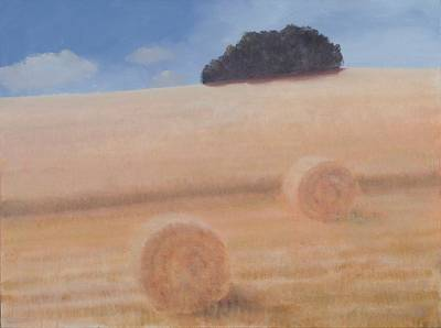 Two Hay Bales, 2012 Acrylic On Canvas Poster