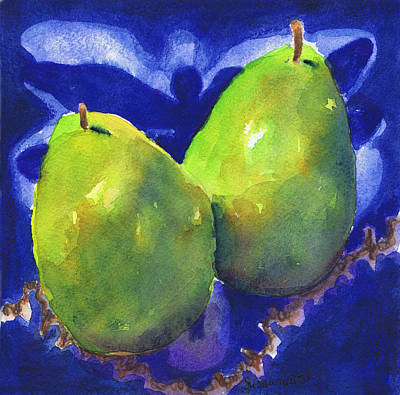 Poster featuring the painting Two Pears On Blue Tile by Susan Herbst