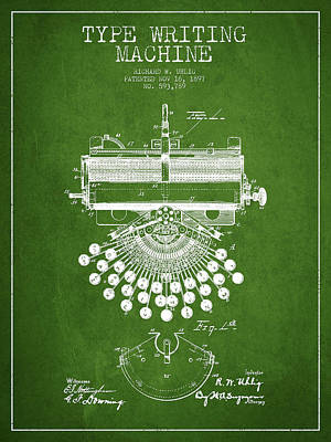 Type Writing Machine Patent Drawing From 1897 - Green Poster
