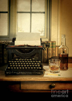 Typewriter And Whiskey Poster by Jill Battaglia
