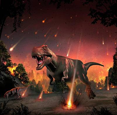 Tyrannosaurs Fleeing A Hail Of Meteorites Poster