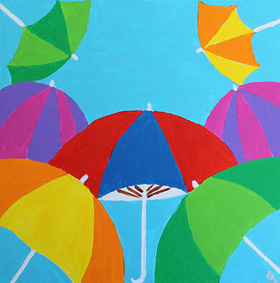 Poster featuring the painting Umbrellas by Deborah Boyd