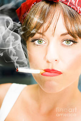 Unhappy Woman Smoking Cigarette Poster by Jorgo Photography - Wall Art Gallery