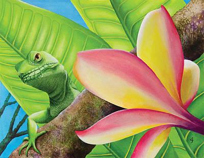 Peekaboo Lizard Poster by Carolyn Steele