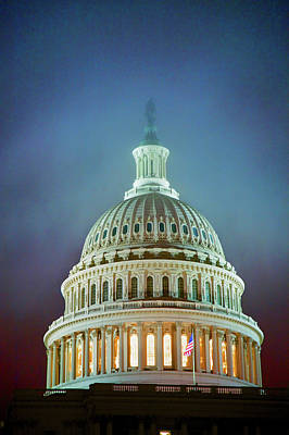 Us Capitol At Night In Fog, Washington Poster
