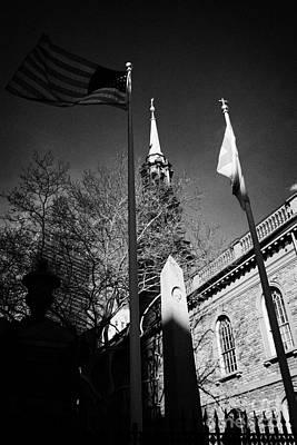 Us Flag Flying Outside St Pauls Chapel Ground Zero New York City Poster by Joe Fox