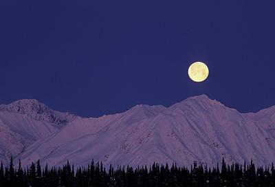 Usa, Alaska, Alaska Range, Full Moon Poster