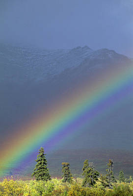 Usa, Alaska, Rainbow, Tundra, Fall Poster