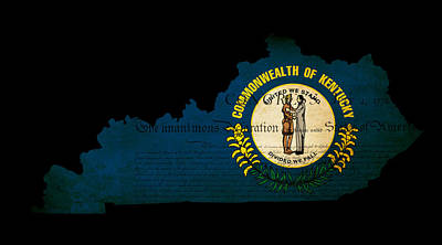 Usa American Kentucky State Map Outline With Grunge Effect Flag  Poster