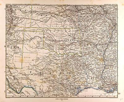 U.s.a. Mapgotha Justus Perthes 1872 Atlas Poster by English School