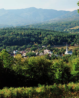 Usa, Vermont, Stowe, View Of Town Poster by Walter Bibikow