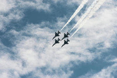 Usaf Thunderbirds Flying In Formation Poster by Sheila Haddad