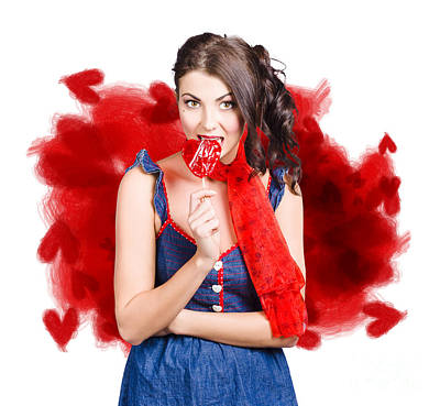Valentines Day Woman Eating Heart Candy Poster