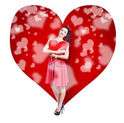 Valentines Day Woman Holding Love Heart Card Poster by Jorgo Photography - Wall Art Gallery
