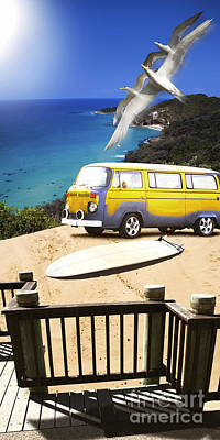 Van And Surf Board At Beach Poster by Jorgo Photography - Wall Art Gallery