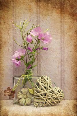 Van Gogh Style Digital Painting Beautiful Flower In Vase With Heart Still Life Love Concept Poster