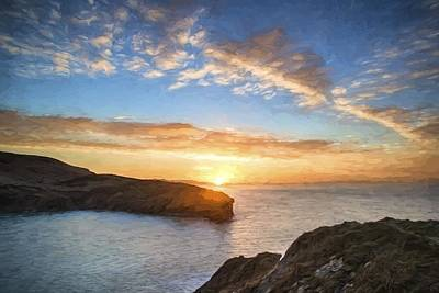 Van Gogh Style Digital Painting Beautiful Vibrant Sunrise Over Rocky Coastline Poster by Matthew Gibson
