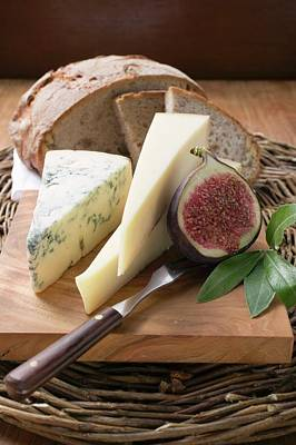 Various Types Of Cheese, Bread And Half A Fig Poster