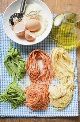 Various Types Of Home-made Pasta With Ingredients Poster