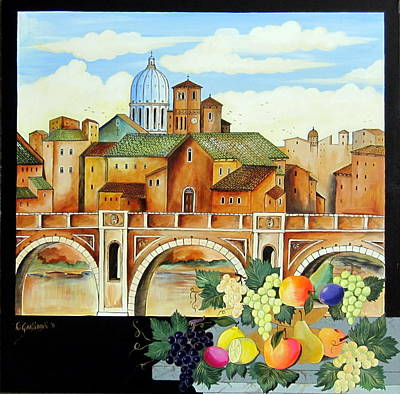 Poster featuring the painting Vecchia Roma by Roberto Gagliardi