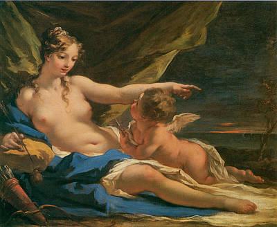 Venus And Cupid Poster by Giovanni Antonio Pellegrini