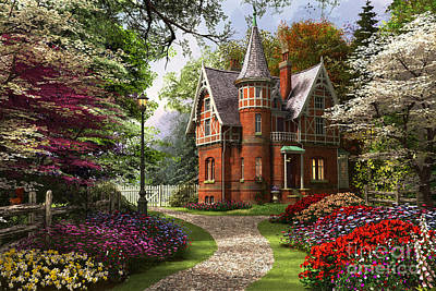 Victorian Cottage In Bloom Poster by Dominic Davison