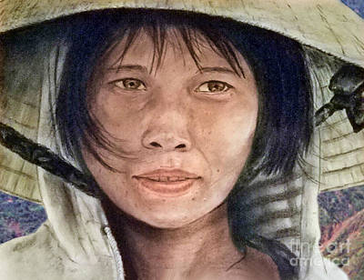Vietnamese Woman Wearing A Conical Hat Poster