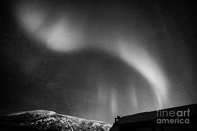 View Of Descending Curtain Northern Lights Aurora Borealis Near Tromso In Northern Norway Europe Poster by Joe Fox