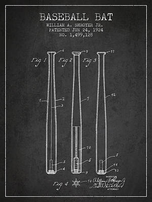 Vintage Baseball Bat Patent From 1924 Poster by Aged Pixel