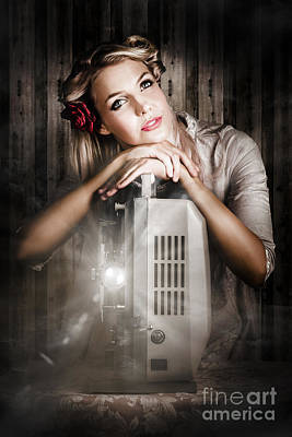 Vintage Beauty Watching Old Film Projector Movie  Poster