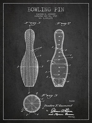 Vintage Bowling Pin Patent Drawing From 1939 Poster