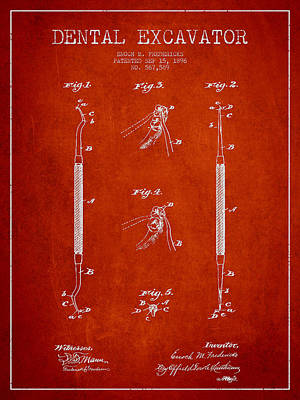 Vintage Dental Excavator Patent Drawing From 1896 - Red Poster