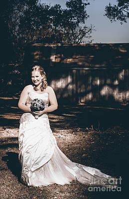 Vintage Elegant Bride At Rural Australian Wedding Poster