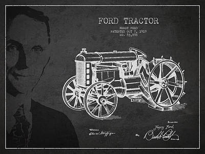 Vintage Ford Tractor Patent Drawing From 1919 Poster