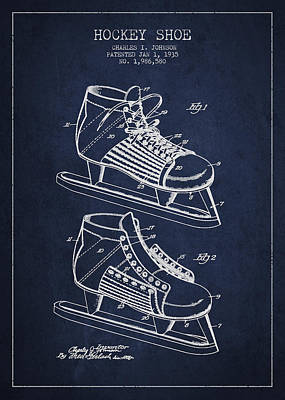 Vintage Hockey Shoe Patent Drawing From 1935 Poster by Aged Pixel