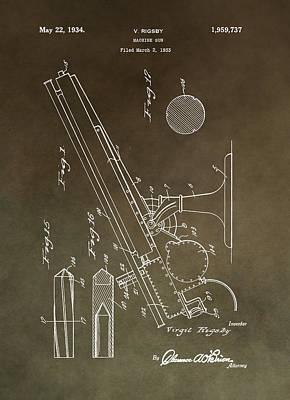 Vintage Machine Gun Patent Poster