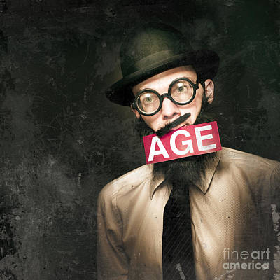 Vintage Man Growing Elderly In Old Fashioned Style Poster