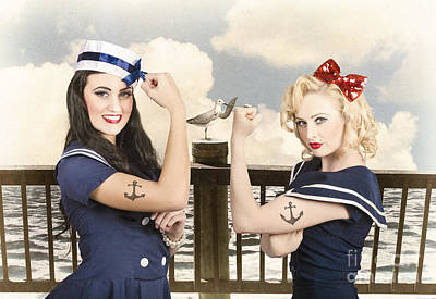 Vintage Pinup Style. Two Retro Sailor Pinup Girls Poster