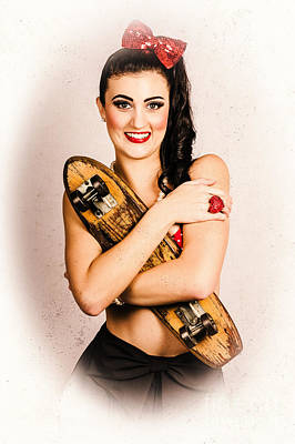 Vintage Portrait Of A Pin-up Model With Skateboard Poster by Jorgo Photography - Wall Art Gallery